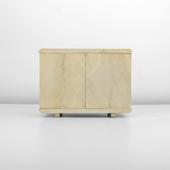 37 lacquered goatskin cabinet manner of karl springer